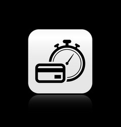 Black fast payments icon isolated on black vector