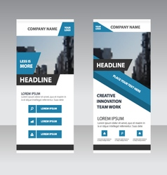 Blue corporate Roll Up Banner template design vector