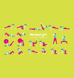 body workout set woman doing fitness and yoga vector image