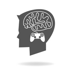 boy head with brain made from game stick cable vector image