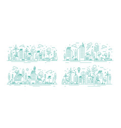 bundle urban landscapes with eco city using vector image