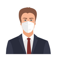 business man wearing a protective mask to protect vector image
