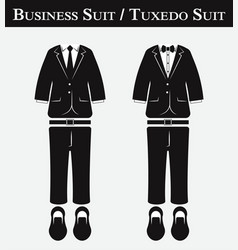 Business suit and tuxedo suit vector