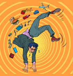 Businessman acrobat somersaults rest and joy vector