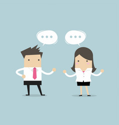 businessman and businesswoman discussing vector image