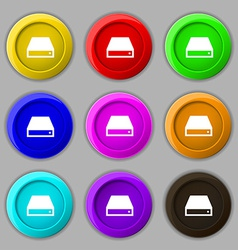 CD-ROM icon sign symbol on nine round colourful vector image