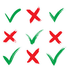 Check marks icons accept and reject isolated on vector