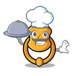Chef with food elegant fashion door knocker mascot vector