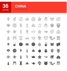 china line web glyph icons vector image