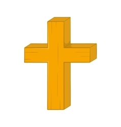 Christian cross icon in cartoon style vector image