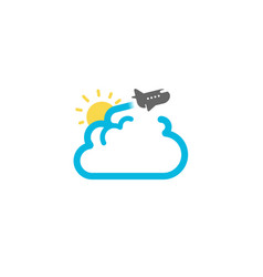 cloud travel flight airplane creative air logo vector image
