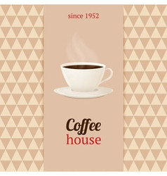 coffee house menu with cup hot drink vector image