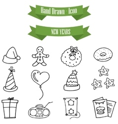 Collection New Year with hand draw vector