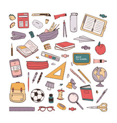 collection school stationery items hand drawn vector image
