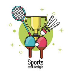 colorful poster of sports lifestyle with rackets vector image