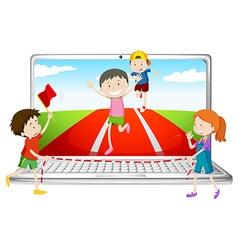 Computer screen with children running in race vector