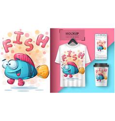 Crazy fish poster and merchandising vector