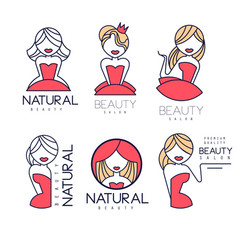 creative beauty salon emblems in linear style vector image