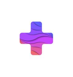Cross shape logo emblem for a medical institution vector