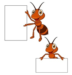 Cute ant cartoon with blank sign vector