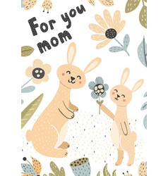 Cute baby bunny gives his mom a flower card vector