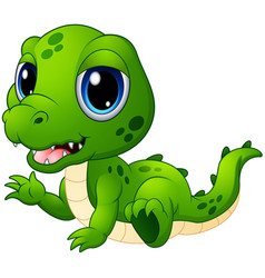 Cute baby crocodile cartoon vector