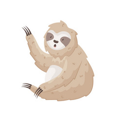 Cute sloth waves paw hello sitting on the ground vector