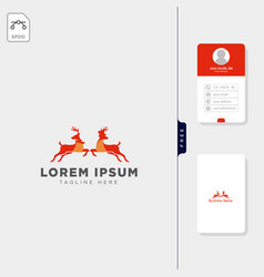 deer logo template free business card design vector image