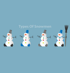 Different types of snowmen vector