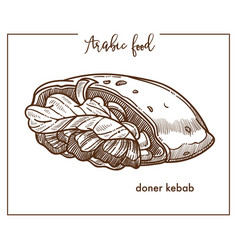Doner kebab in unusual shape from arabic food vector