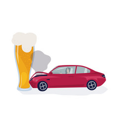 drunk driver concept car crached into beer glass vector image