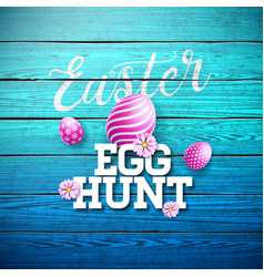 easter egg hunt with flower and vector image