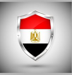 egypt flag on metal shiny shield collection vector image