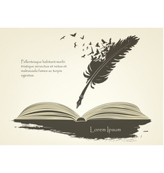 Feather with flying birds and open book vector