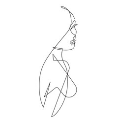 Female figure continuous line art 4 vector