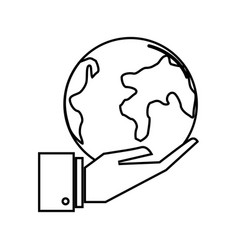 Figure earth planet in the hand icon vector