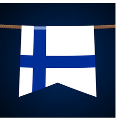 finland national flags hangs on rope vector image