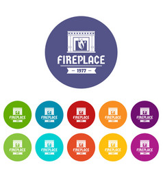 fireplace icons set color vector image