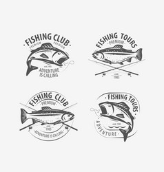 fishing set labels fishery logo or emblem vector image