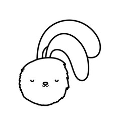 fluffy rabbit head adorable toy icon thick line vector image