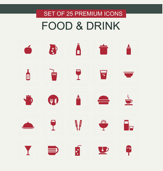 Food and drink red icons vector