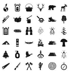 forest icons set simple style vector image