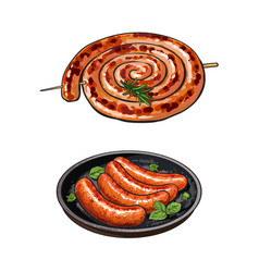 freshly grilled barbequed sausages long and short vector image