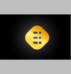 gold or golden e letter icon alphabet logo shape vector image