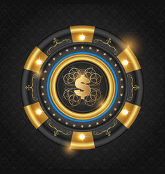 Golden glowing casino chip vector