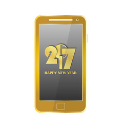Golden modern mobile phone isolated new year 2017 vector