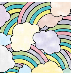 grated nature clouds rainbow in the sky background vector image