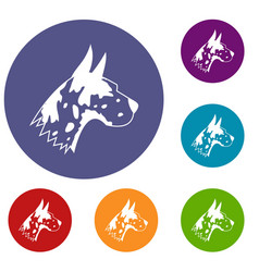 Great dane dog icons set vector