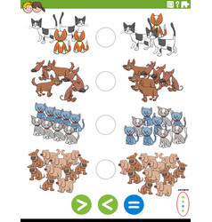 Greater less or equal educational task with pets vector
