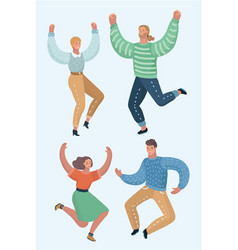 Guys and girls are dancing and celebrate a victory vector